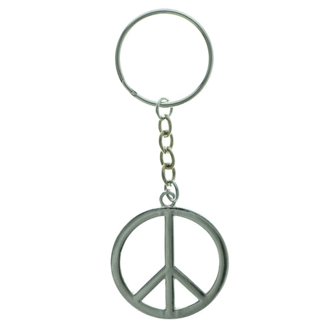 Peace Sign Split-Ring-Keychain Silver-Tone Color  #262