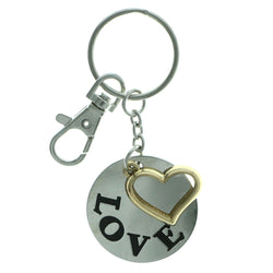 Love Heart Split-Ring-Keychain Silver-Tone & Gold-Tone Colored #267