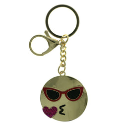 Blowing Kiss Emoji-Keychain With Crystal Accents Gold-Tone & Pink Colored #274