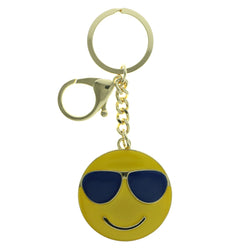 Smiley Face Sunglasses Emoji-Keychain Yellow & Blue Colored #275
