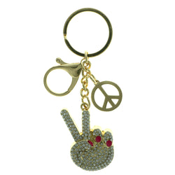 Peace Sign Emoji-Keychain With Crystal Accents Gold-Tone & Pink Colored #276