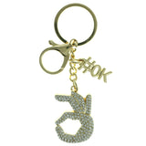 OK Emoji-Keychain With Crystal Accents Gold-Tone & Clear Colored #280