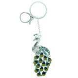 Peacock Split-Ring-Keychain With Crystal Accents Silver-Tone & Multi Colored #281
