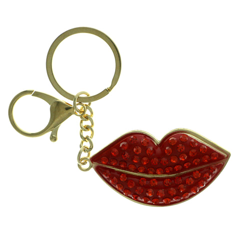Lips Emoji-Keychain With Crystal Accents Gold-Tone & Red Colored #282