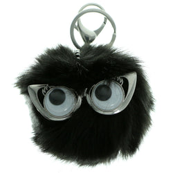 Furball PomPom Fluffy Googly Eyes Split-Ring-Keychain Black Color  #285