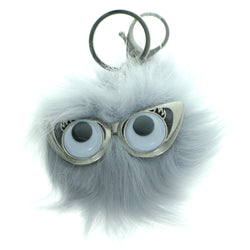 Furball PomPom Fluffy Googly Eyes Split-Ring-Keychain Gray Color  #287