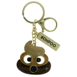 OH POO Emoji-Keychain With Crystal Accents Gold-Tone & Brown Colored #288