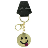 Tongue Out Emoji-Keychain With Crystal Accents Gold-Tone & Pink Colored #289