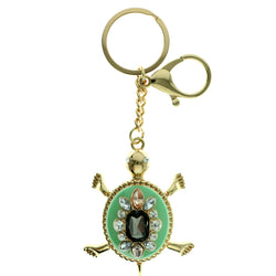Turtle Split-Ring-Keychain With Crystal Accents Gold-Tone & Green Colored #291