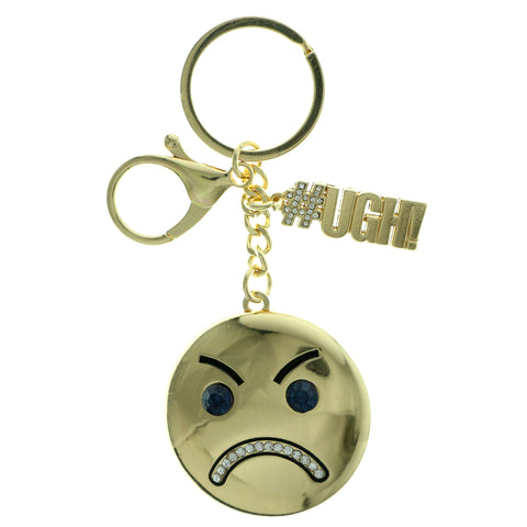 Angry Face Emoji-Keychain With Crystal Accents Gold-Tone & Blue Colored #293
