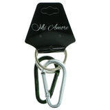 Carabiner Set Of Two Split-Ring-Keychain Silver-Tone & Green Colored #294