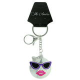 Female Sunglasses Emoji-Keychain With Crystal Accents Silver-Tone & Multi Colored #296