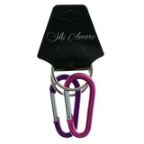 Set Of 2 Carabiner Split-Ring-Keychain Purple & Pink Colored #297