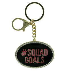 Hashtag Squad Goals Split-Ring-Keychain With Crystal Accents Black & Pink Colored #301
