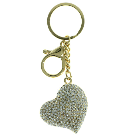 Heart Split-Ring-Keychain With Crystal Accents  Gold-Tone Color #305