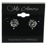 Silver-Tone & Black Colored Metal Stud-Earrings With Crystal Accents #LQE1074