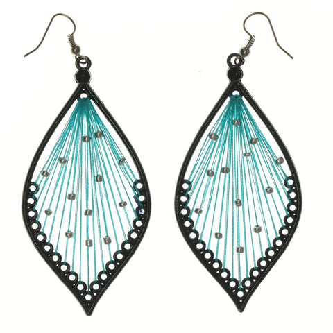 Black & Blue Colored Fabric Dangle-Earrings With Bead Accents #LQE1121