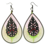 Green & Red Colored Fabric Dangle-Earrings #LQE1139