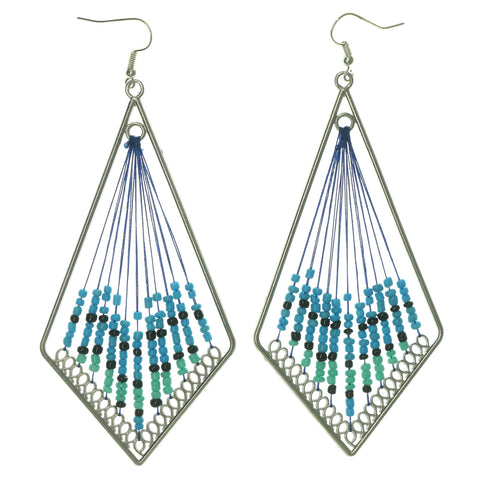 Silver-Tone & Blue Colored Metal Dangle-Earrings With Bead Accents #LQE1148