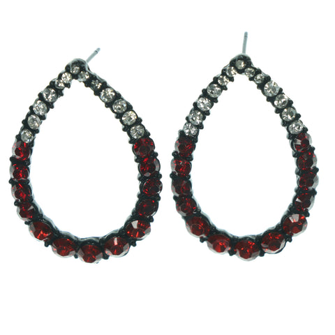 Red & Silver-Tone Colored Metal Dangle-Earrings With Crystal Accents #LQE1154
