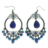 Blue & Silver-Tone Colored Metal Dangle-Earrings With Crystal Accents #LQE1158