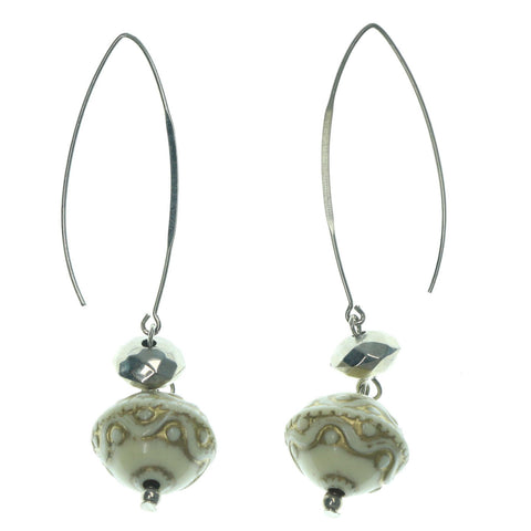 Silver-Tone & White Colored Metal Dangle-Earrings With Bead Accents #LQE1159