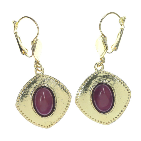 Gold-Tone & Purple Colored Metal Dangle-Earrings With Bead Accents #LQE1164