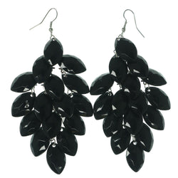 Black & Silver-Tone Colored Metal Chandelier-Earrings With Bead Accents #LQE1165