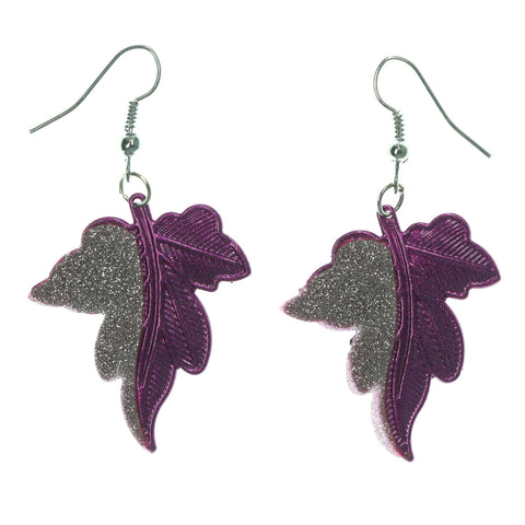 Leaf Dangle-Earrings Purple & Silver-Tone Colored #LQE1168