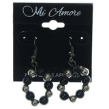 Black & Silver-Tone Colored Metal Dangle-Earrings With Bead Accents #LQE1173