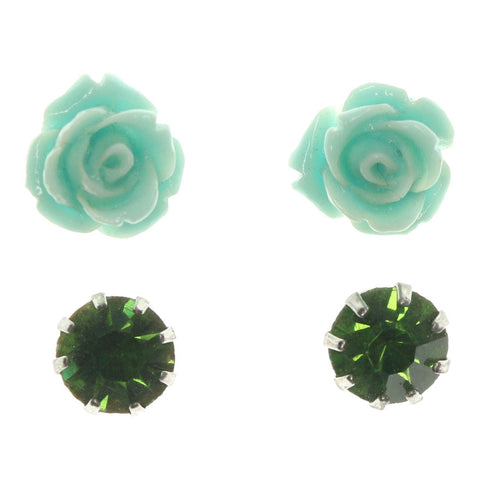 Rose Duo Stud-Earrings With Crystal Accents Green & Silver-Tone Colored #LQE1177