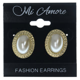 Gold-Tone & White Colored Metal Stud-Earrings With Bead Accents #LQE1179