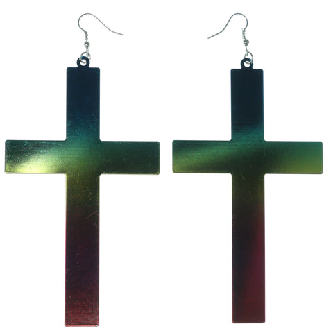 Cross Rainbow Dangle-Earrings Colorful & Silver-Tone Colored #LQE1181