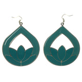 Lotus Dangle-Earrings Blue & Silver-Tone Colored #LQE1186