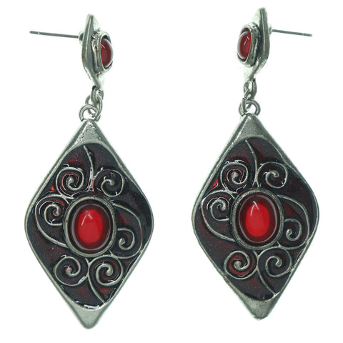 Red & Silver-Tone Colored Metal Dangle-Earrings With Bead Accents #LQE1194