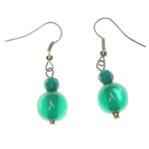Green & Silver-Tone Colored Metal Dangle-Earrings With Bead Accents #LQE1197