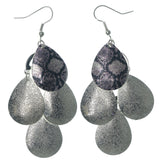Snakeskin Chandelier-Earrings Silver-Tone & Purple Colored #LQE1200