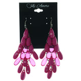 Pink & Silver-Tone Colored Metal Chandelier-Earrings With Bead Accents #LQE1203
