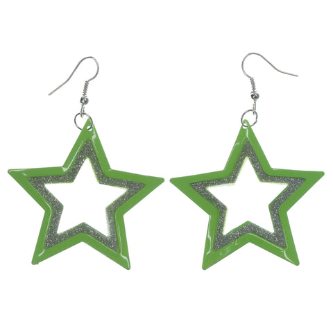 Glitter Sparkle Star Dangle-Earrings Green & Silver-Tone Colored #LQE1213