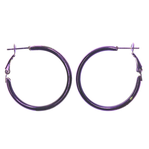 Purple Metal Hoop-Earrings #LQE1215
