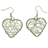 Heart Wire Wrap Dangle-Earrings Gold-Tone Color  #LQE1221