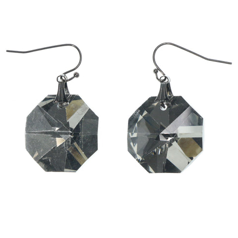 Gray & Silver-Tone Colored Metal Dangle-Earrings With Crystal Accents #LQE1225