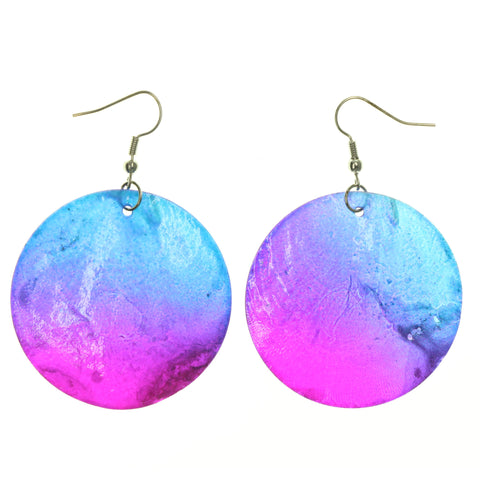 Shell Dangle-Earrings Purple & Blue Colored #LQE1228