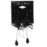 Bow Dangle-Earrings With Bead Accents Black & Clear Colored #LQE1231