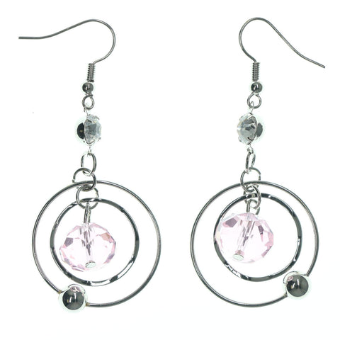 Silver-Tone & Pink Colored Metal Dangle-Earrings With Crystal Accents #LQE1232