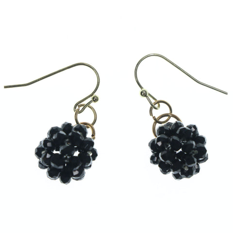 Black & Gold-Tone Colored Metal Dangle-Earrings With Crystal Accents #LQE1233
