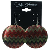 Chevron Dangle-Earrings Colorful & Silver-Tone Colored #LQE1234