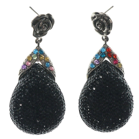 Rose Dangle-Earrings With Crystal Accents Black & Multi Colored #LQE1238