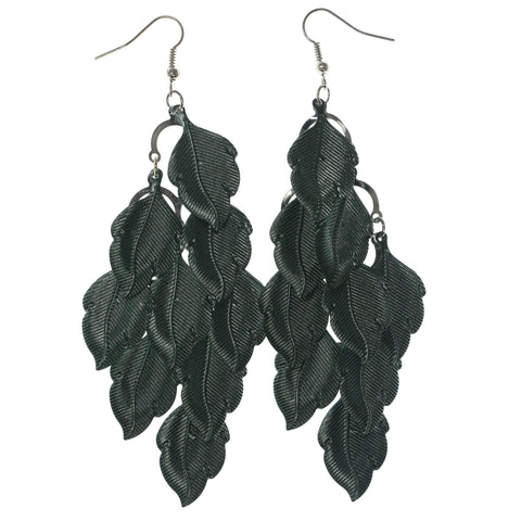 Leaf Chandelier-Earrings Green & Silver-Tone Colored #LQE1245