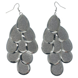 Glitter Sparkle Chandelier-Earrings Silver-Tone Color  #LQE1247